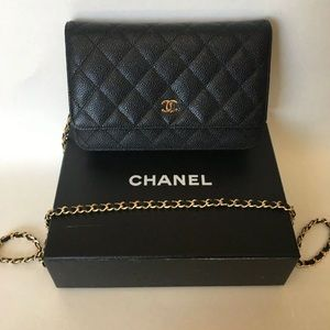 Chanel Wallet on Chain Black Caviar Gold Hardware